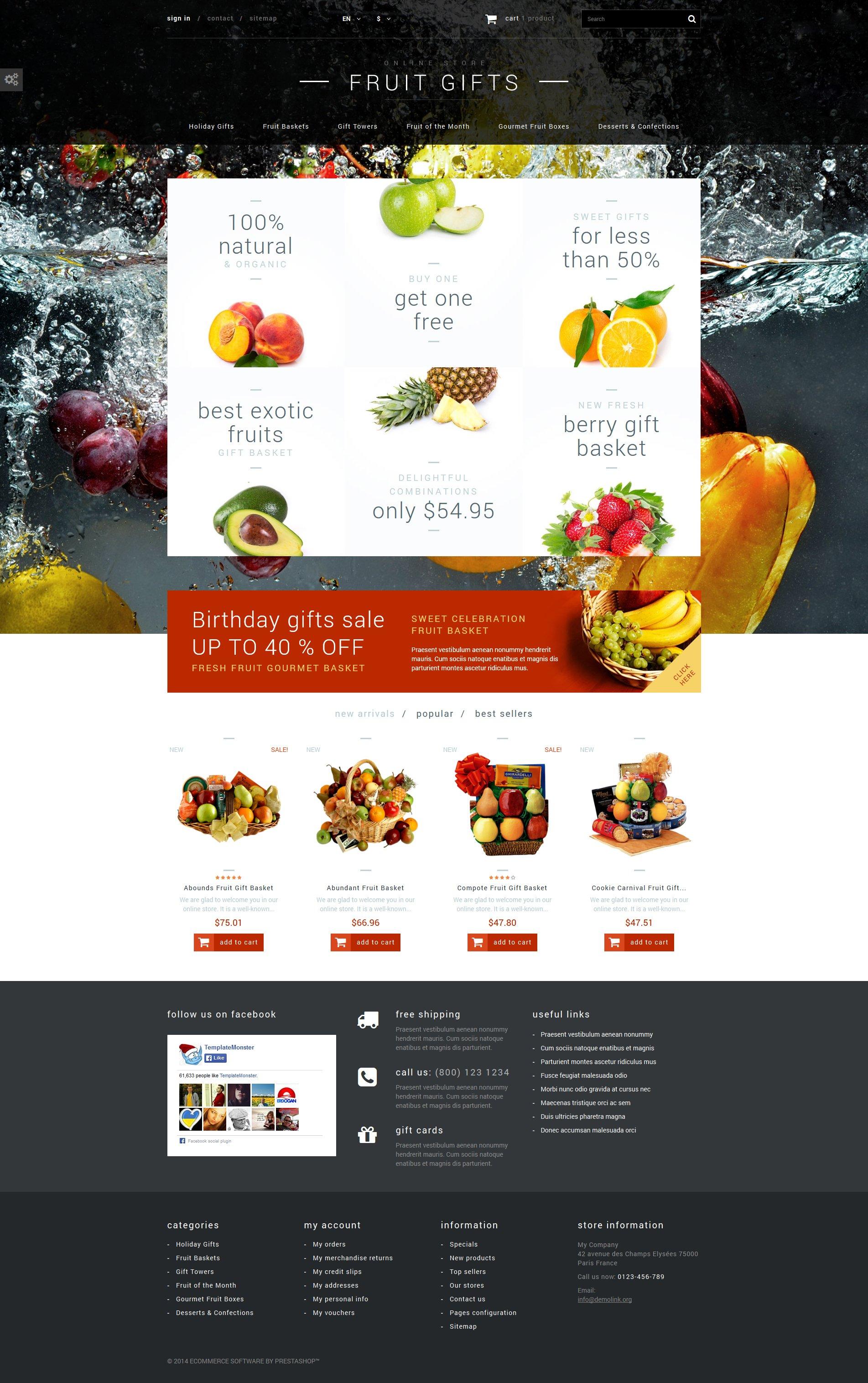 """Fruit Gifts Store"" - адаптивний PrestaShop шаблон №52699"