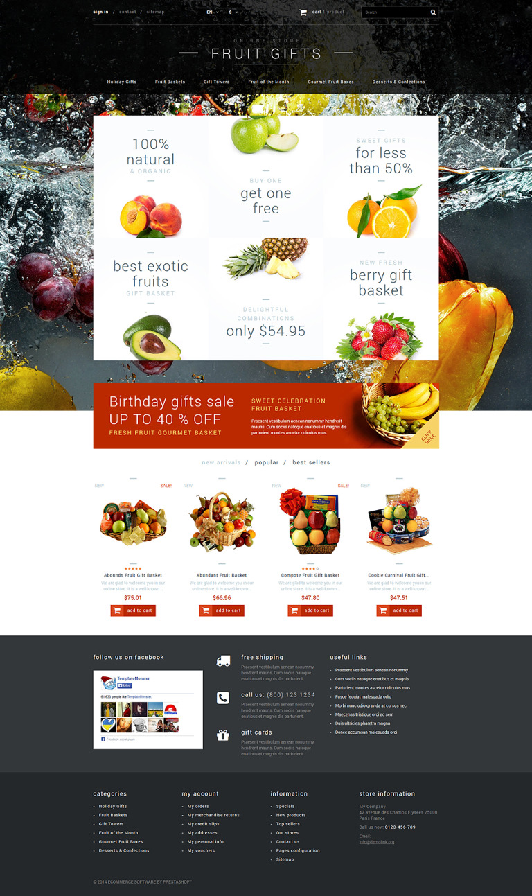 Fruit Gifts Store PrestaShop Theme New Screenshots BIG