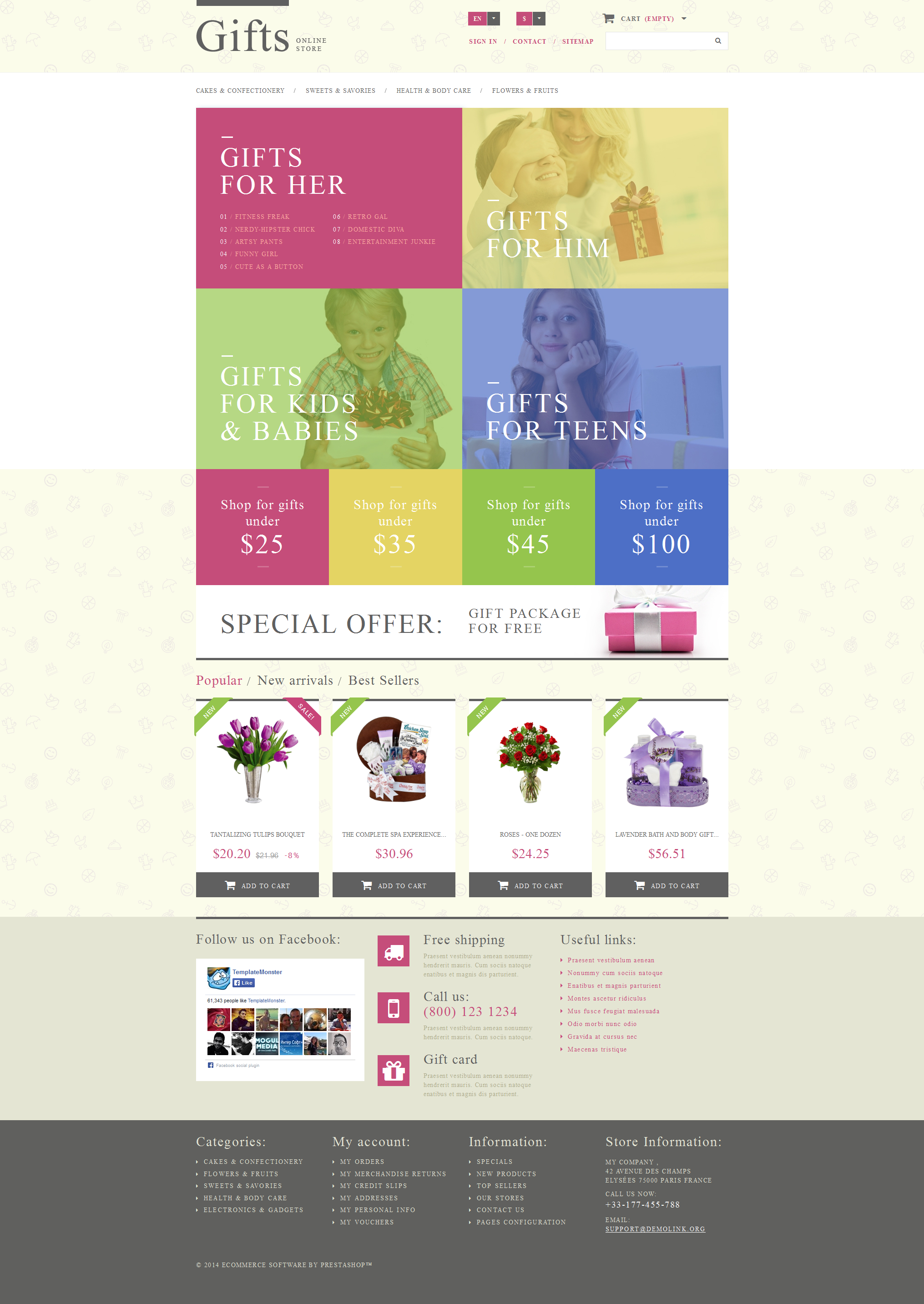 """Gift Shop"" Responsive PrestaShop Thema №52664"