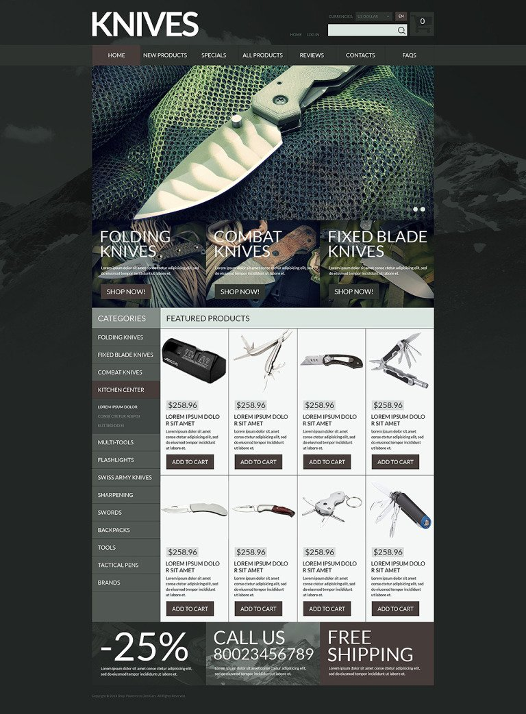 Gun Shop ZenCart Template New Screenshots BIG