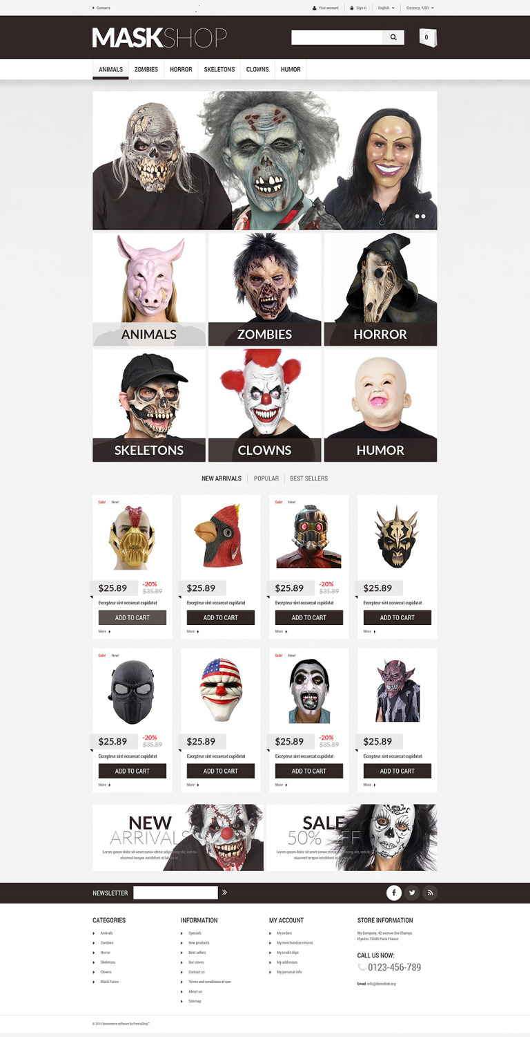 Masquerade Mask PrestaShop Theme New Screenshots BIG