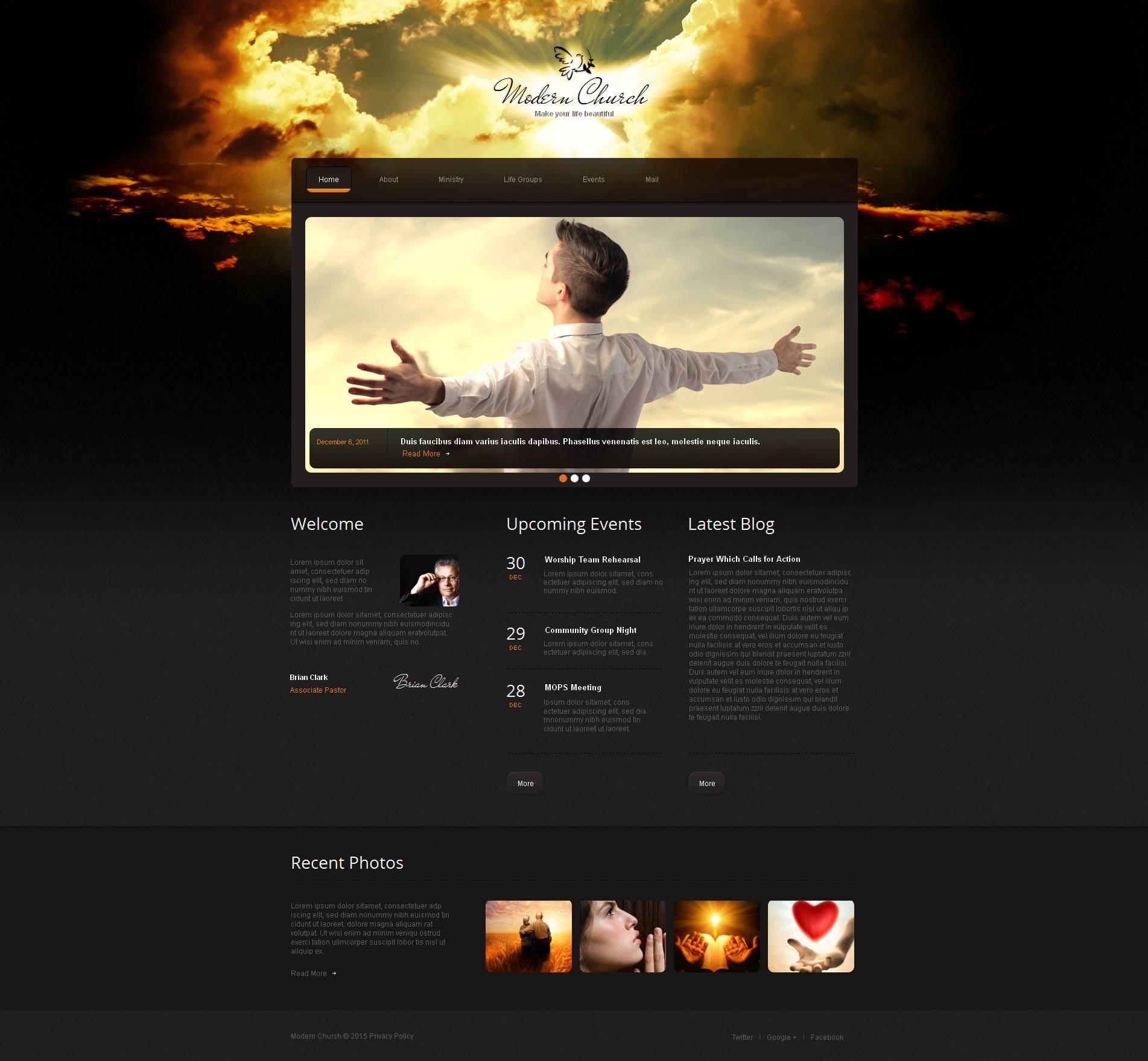 Modèle Moto CMS HTML Premium pour site chrétien #52615