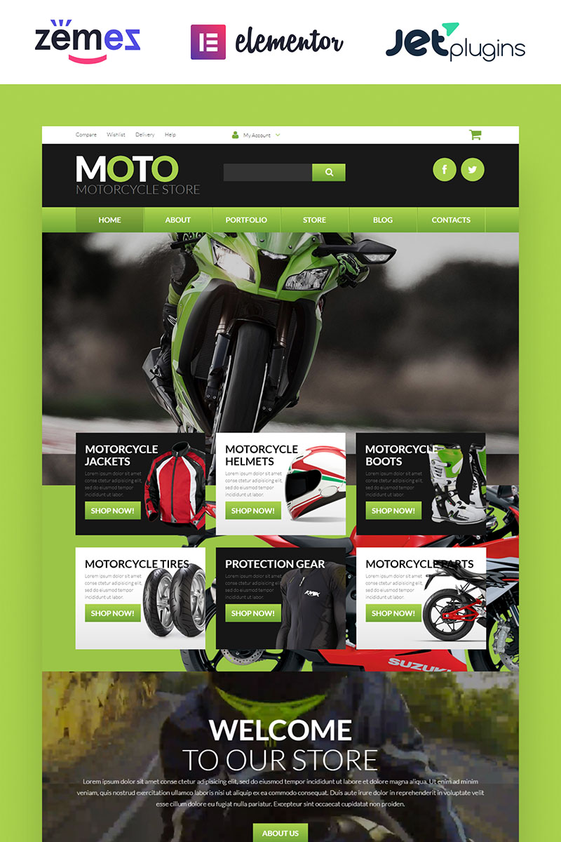 """""""Motorcycle Store"""" Responsive WooCommerce Thema №52675"""