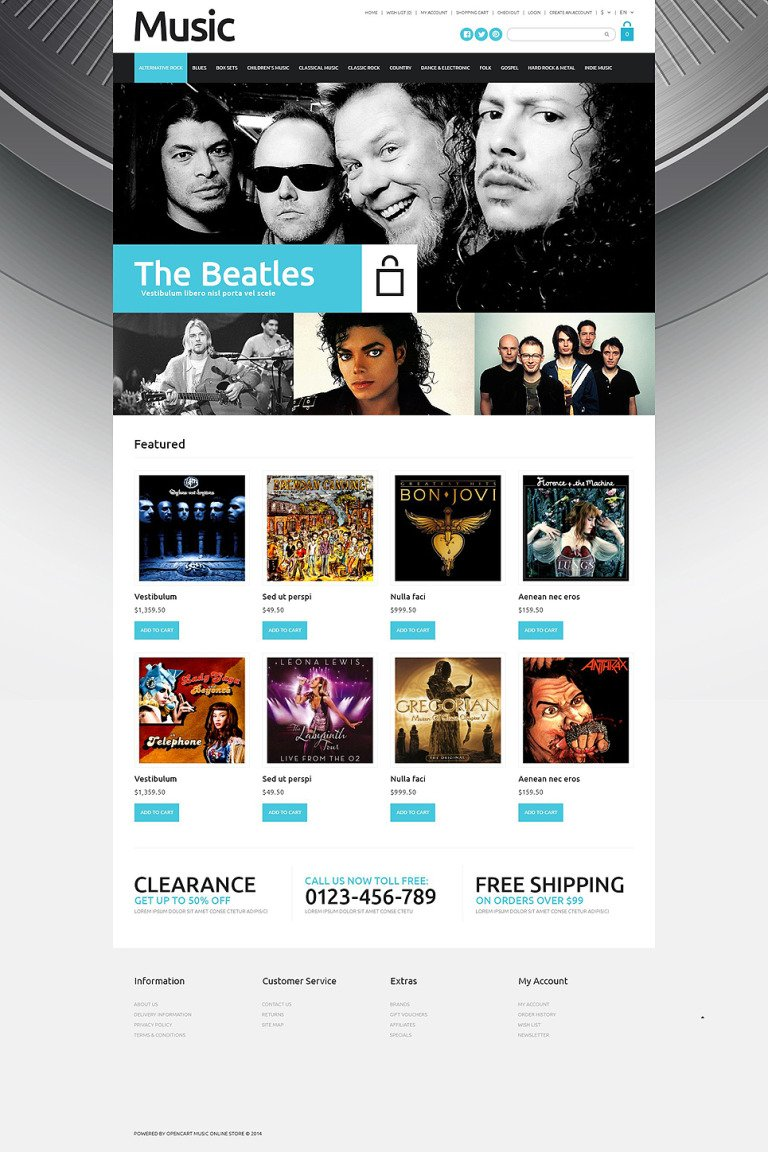 Online Music Sales OpenCart Template New Screenshots BIG