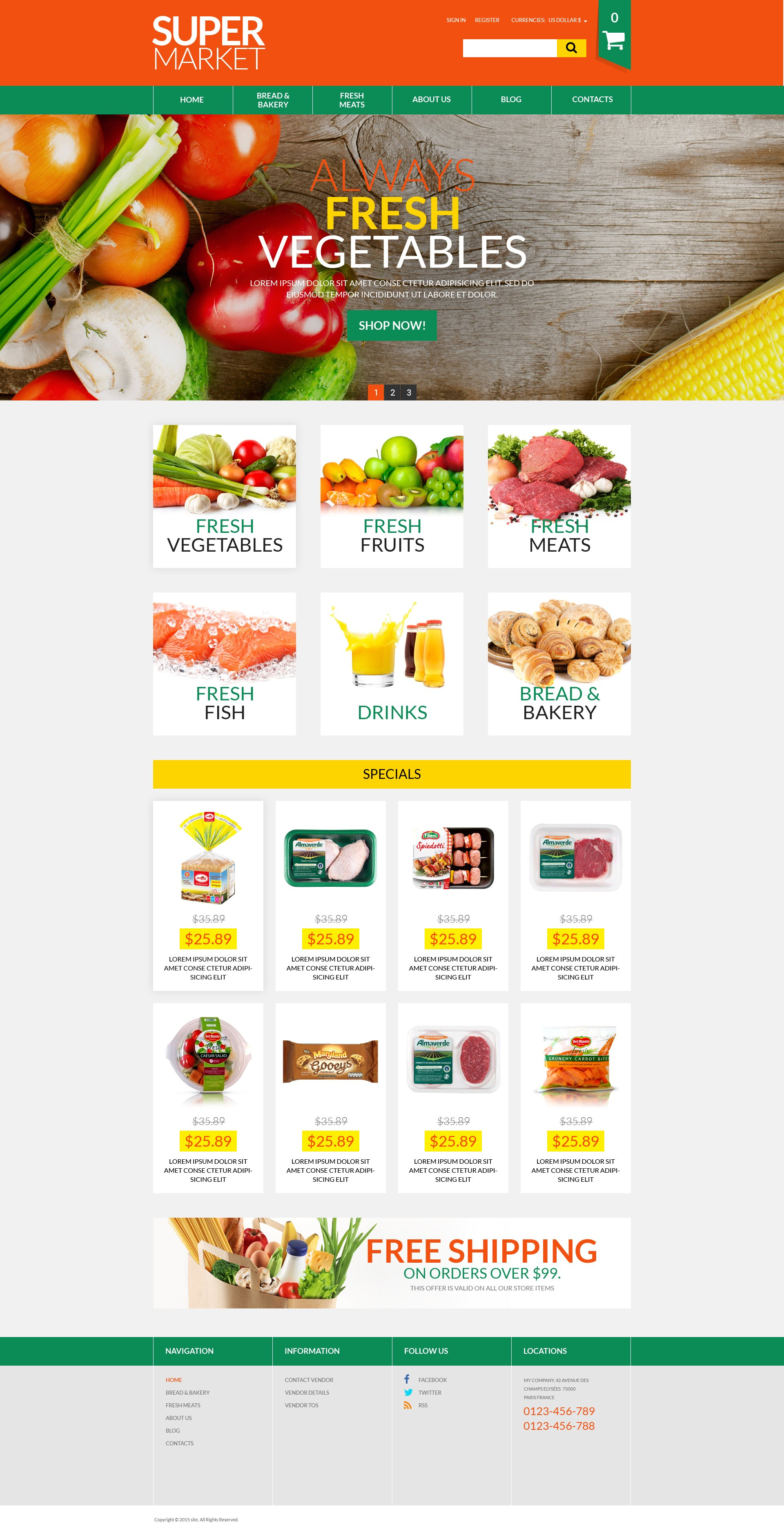 online supermarket virtuemart template  52667