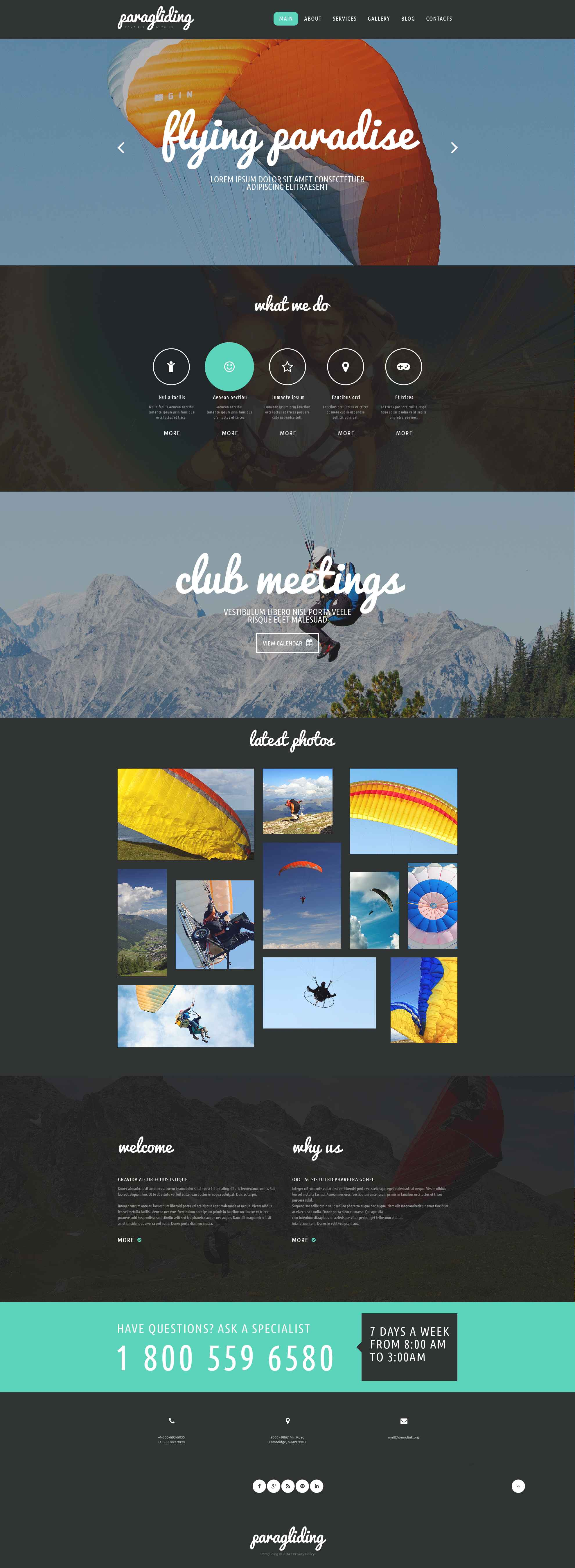Paragliding Club Website Template #52686
