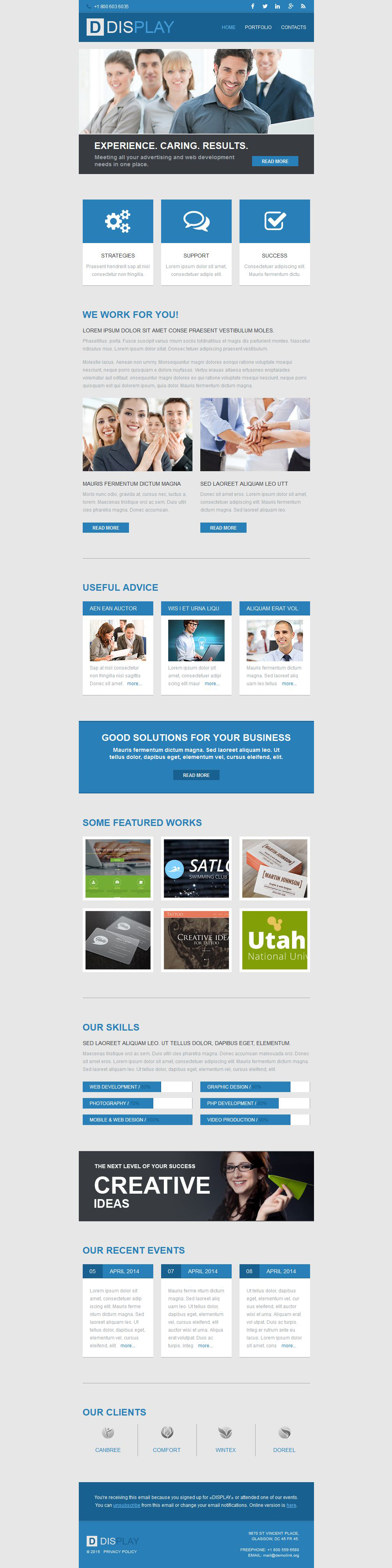 Plantilla De Boletín De Noticias Responsive para Sitio de Diseño Web #52682