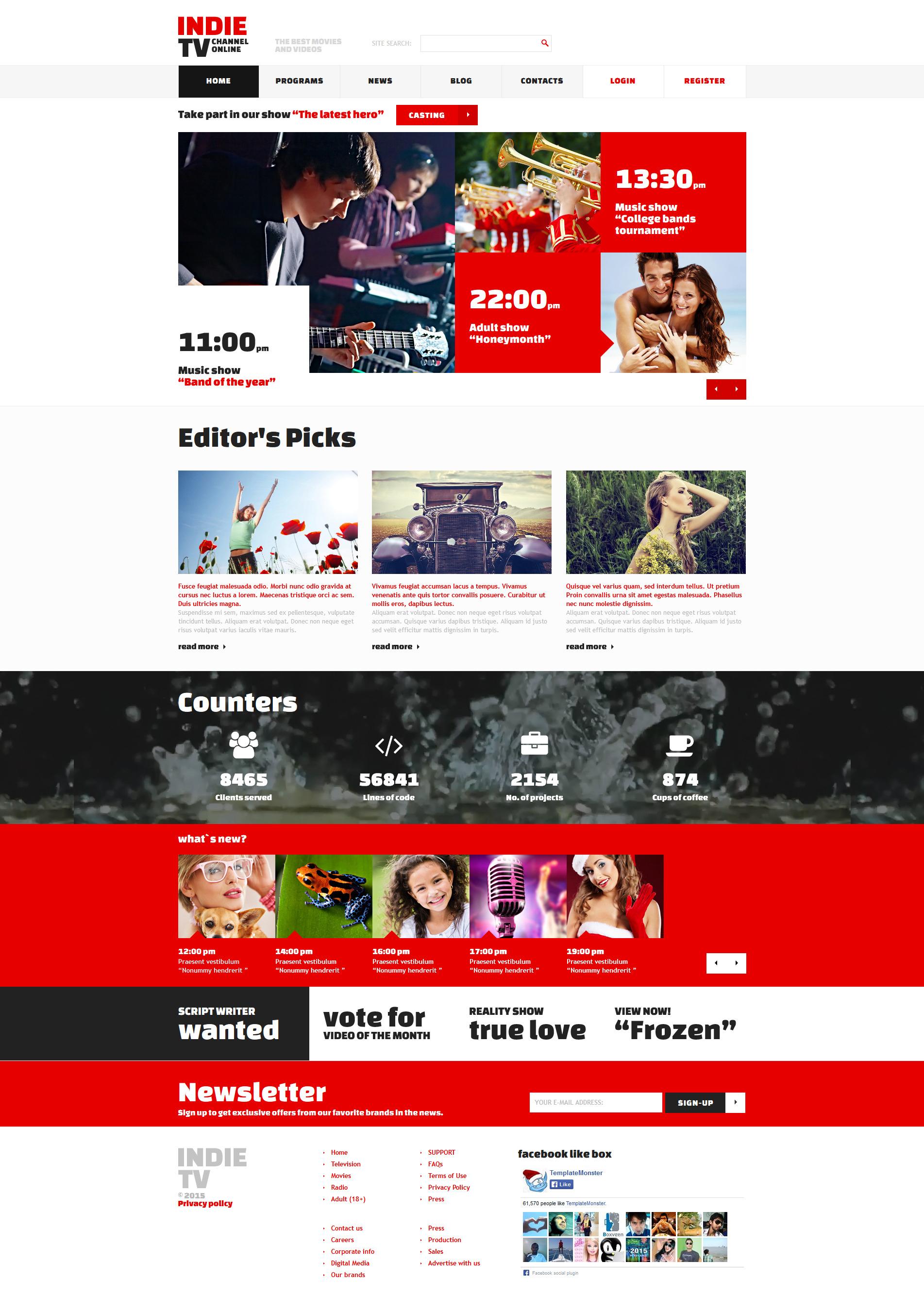 Plantilla Joomla Responsive para Sitio de Canales de televisión #52689 - captura de pantalla