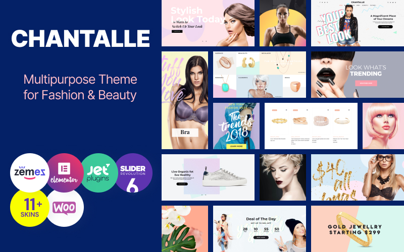 Responsivt Chantalle - Multipurpose Woman Fashion Elementor WordPress-tema #52658