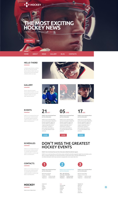 Hockey Responsive Šablona Webových Stránek