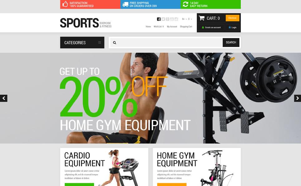 Reszponzív Sport üzletek OpenCart sablon New Screenshots BIG