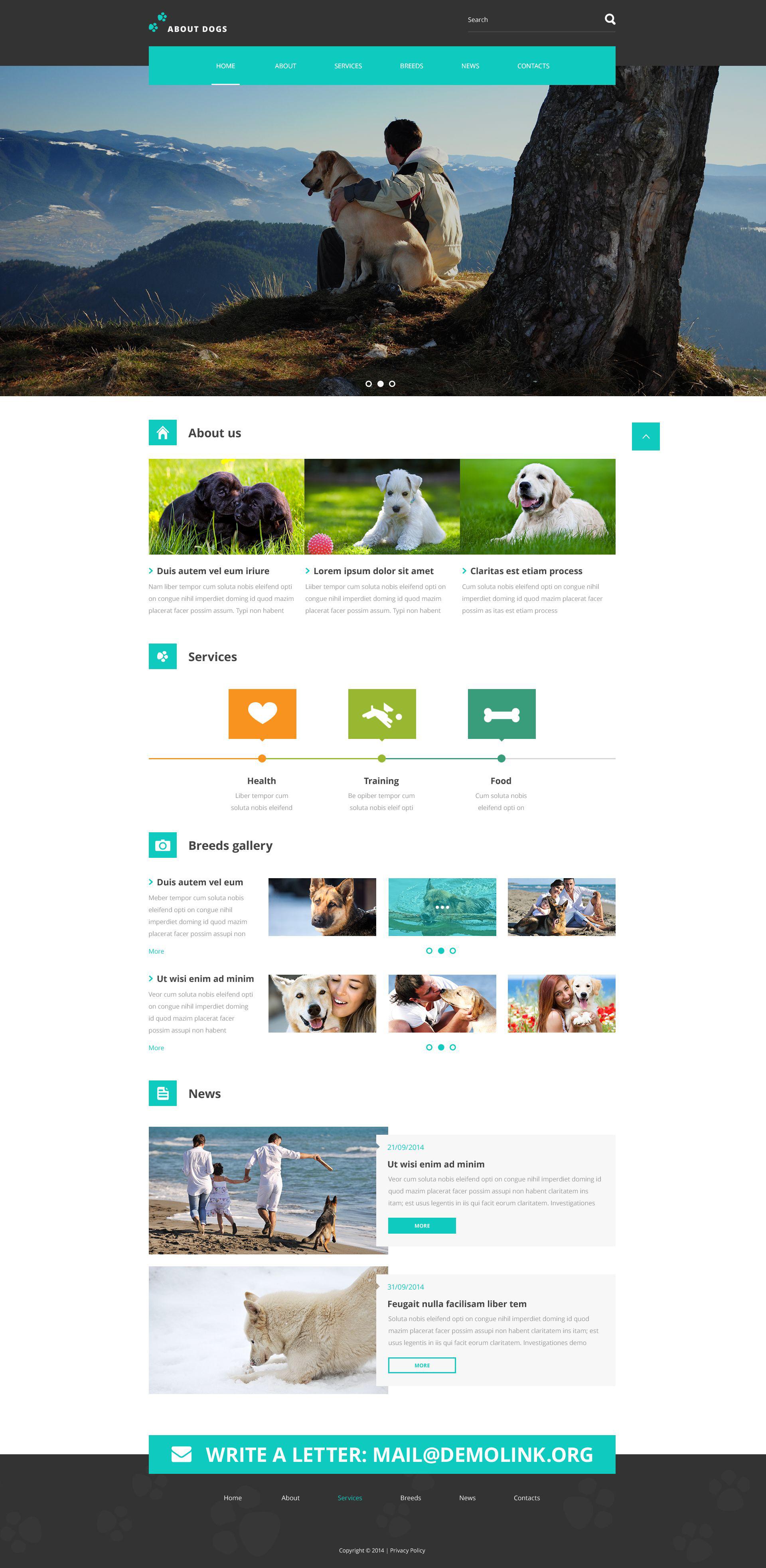 Reszponzív Template About Dogs Weboldal sablon 52634