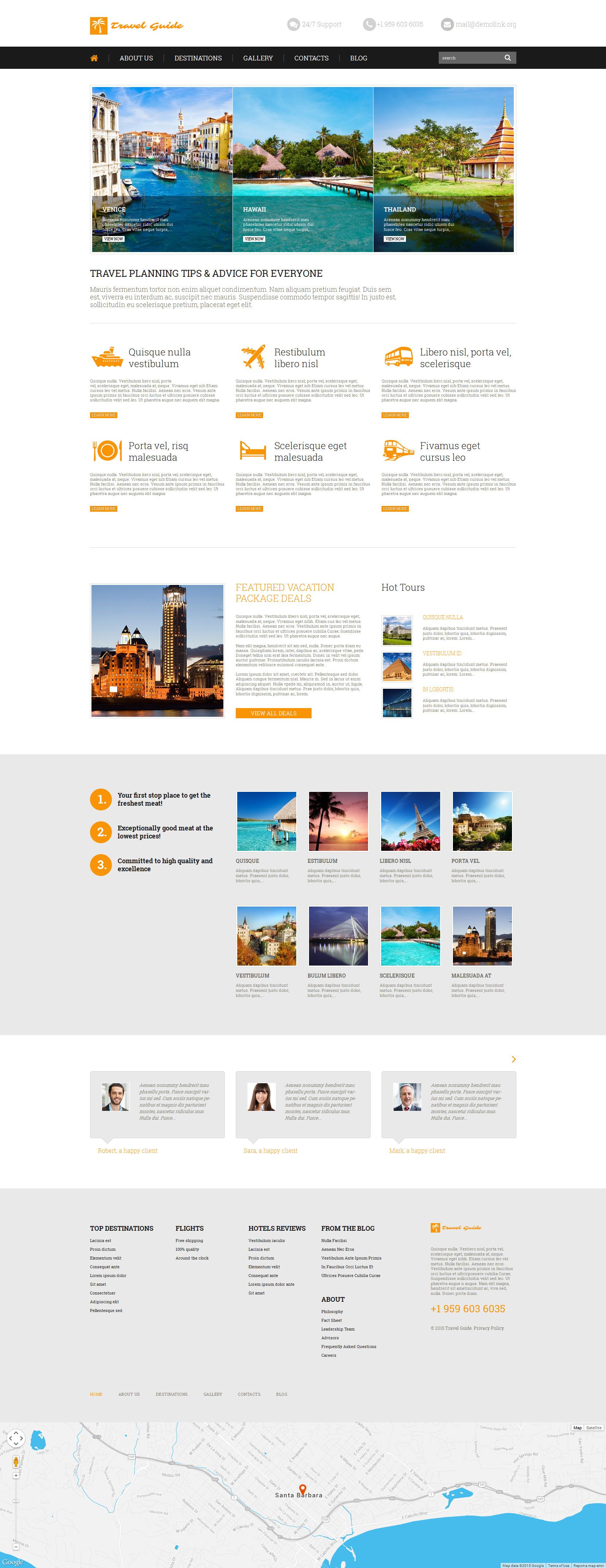 Reszponzív Travel Guide WordPress sablon 52642