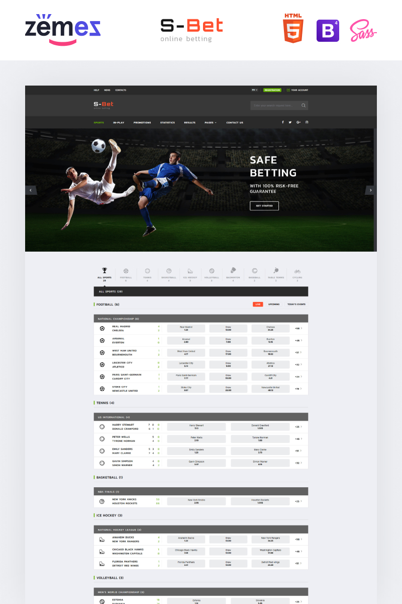 """S-Bet - Online Betting Multipage HTML"" Responsive Website template №52669"