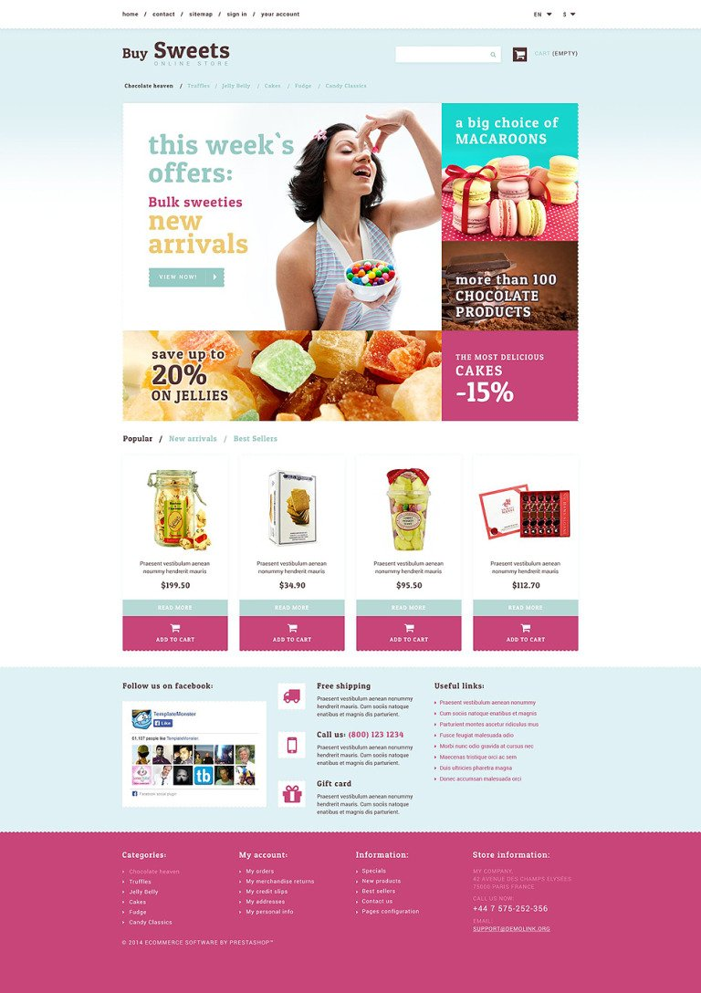 Sweet Store PrestaShop Theme New Screenshots BIG