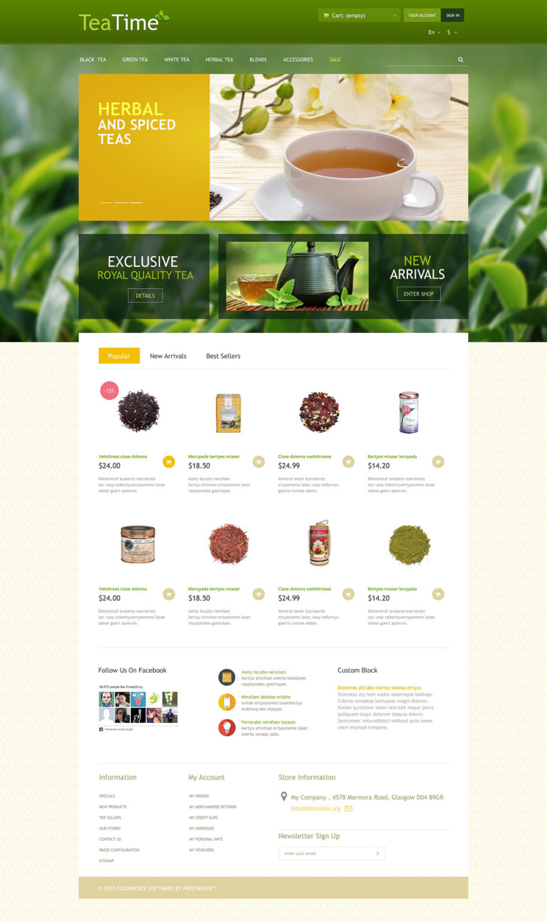 Tea Store PrestaShop Theme New Screenshots BIG