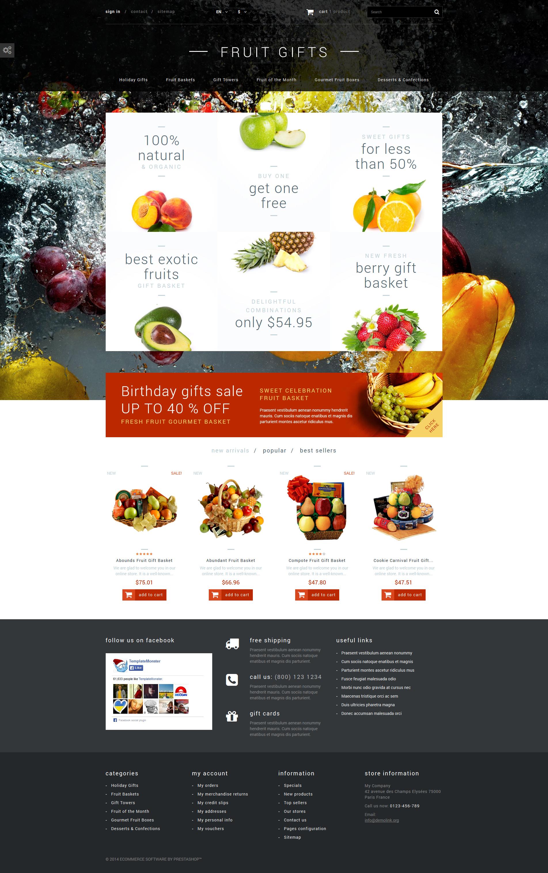 """Tema De PrestaShop """"Tienda de Cestas de Frutas"""" #52699"""