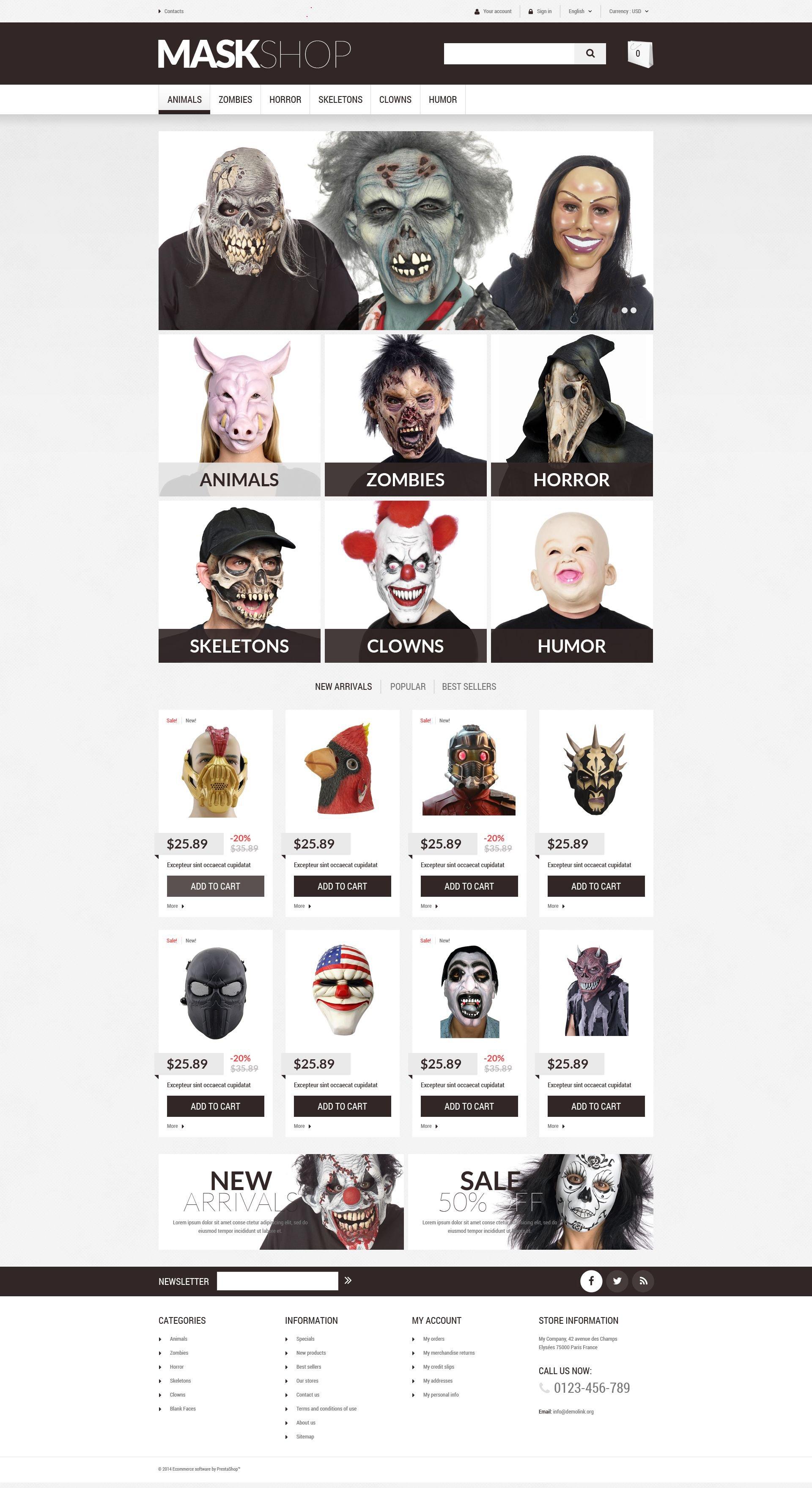 """Tema De PrestaShop """"Tienda de Máscaras De Mascarada"""" #52625"""