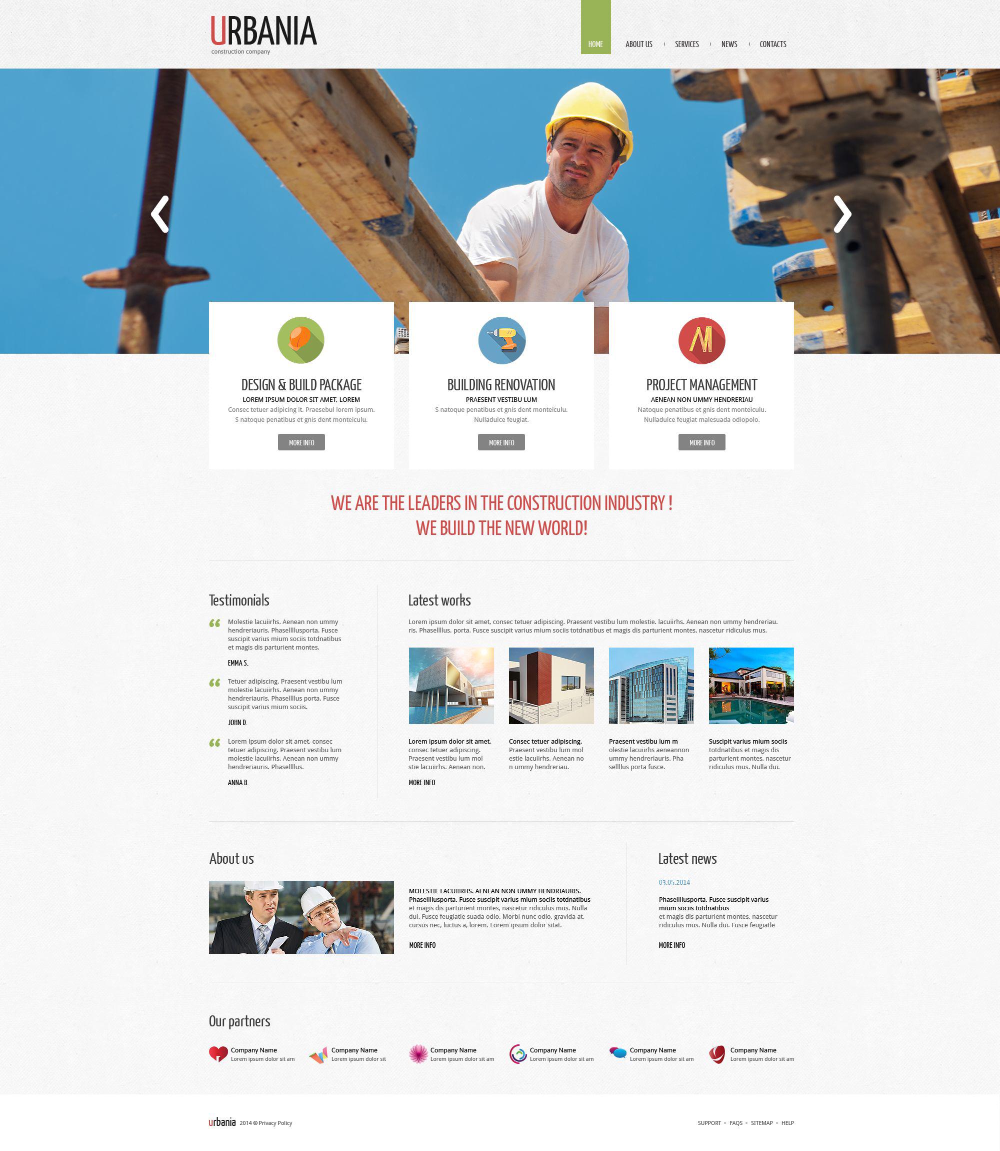 Template Drupal Flexível para Sites de Empresa de Construção Civil №52688