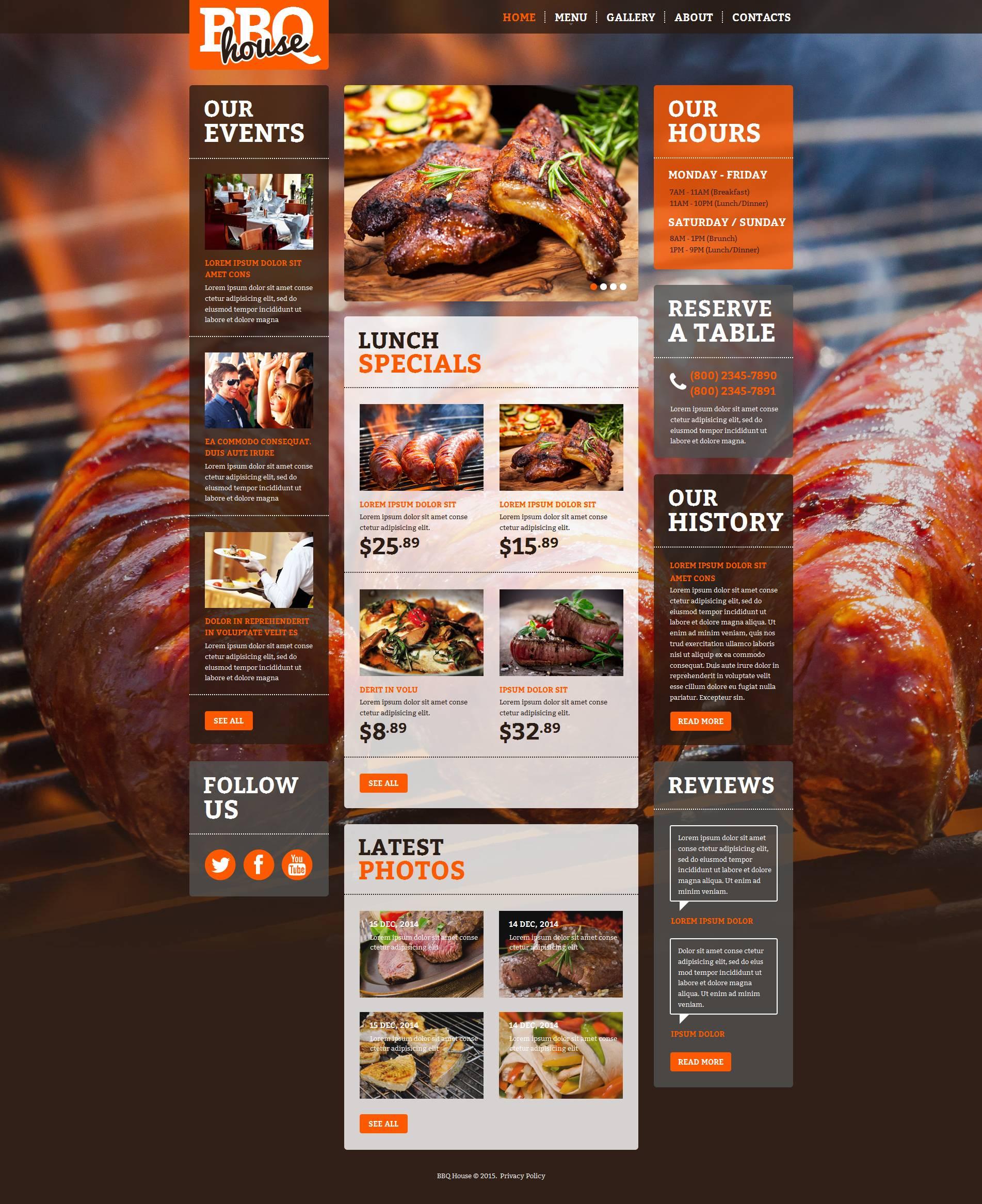 Template Moto CMS HTML #52624 per Un Sito di Barbecue
