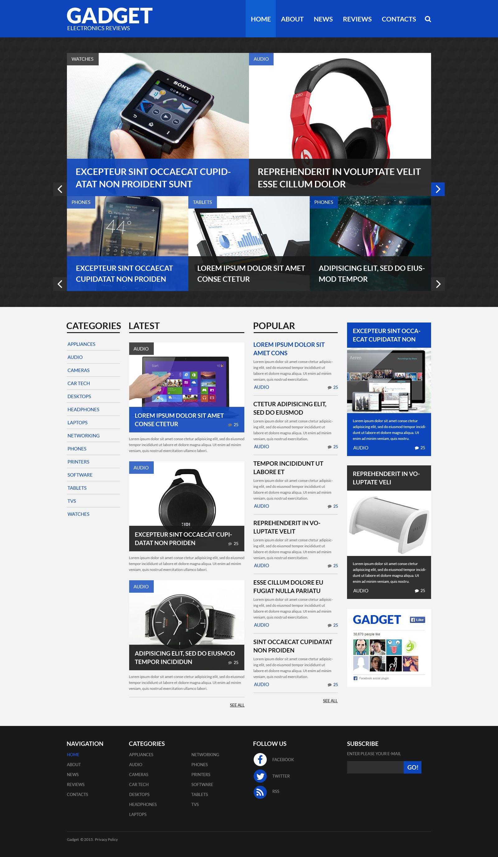 "Template WordPress Responsive #52657 ""Electronics Reviews"""