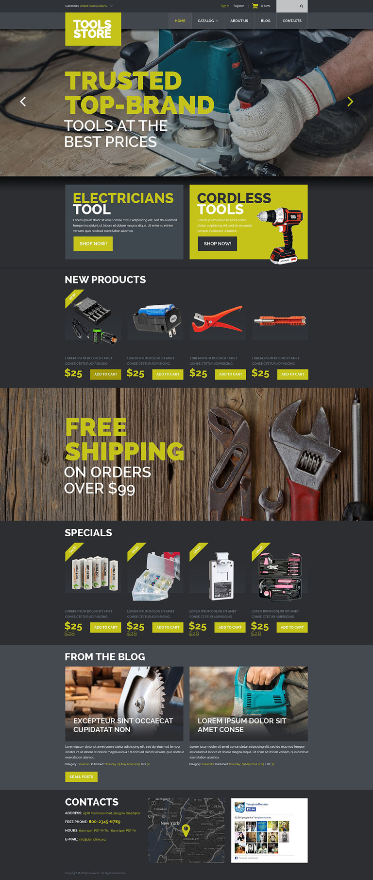Tools Equipment VirtueMart Template New Screenshots BIG