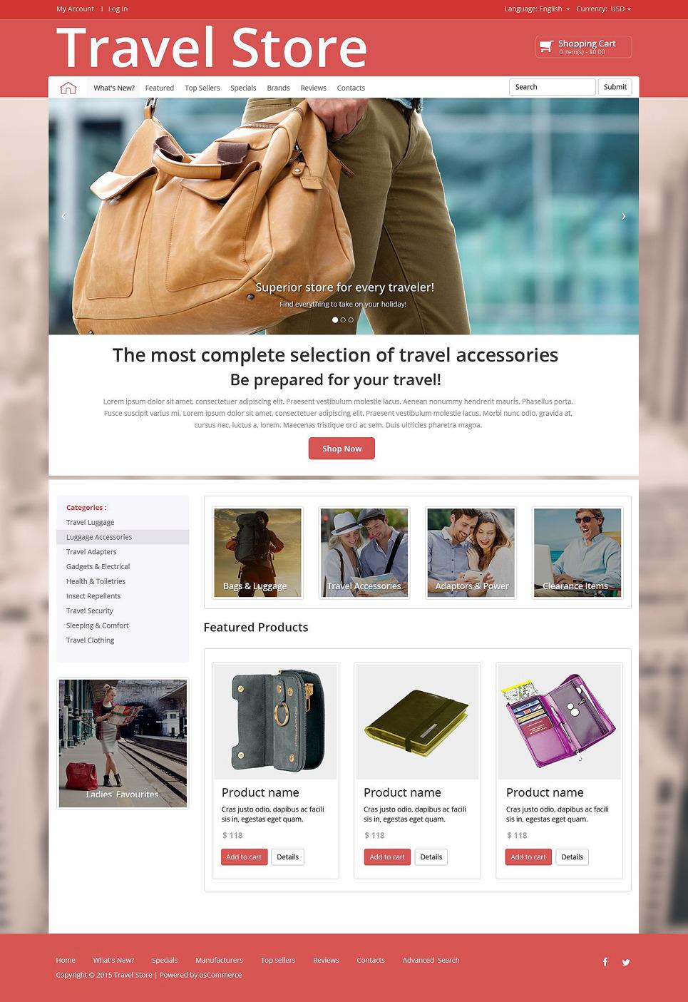 Travel Store OsCommerce Template New Screenshots BIG