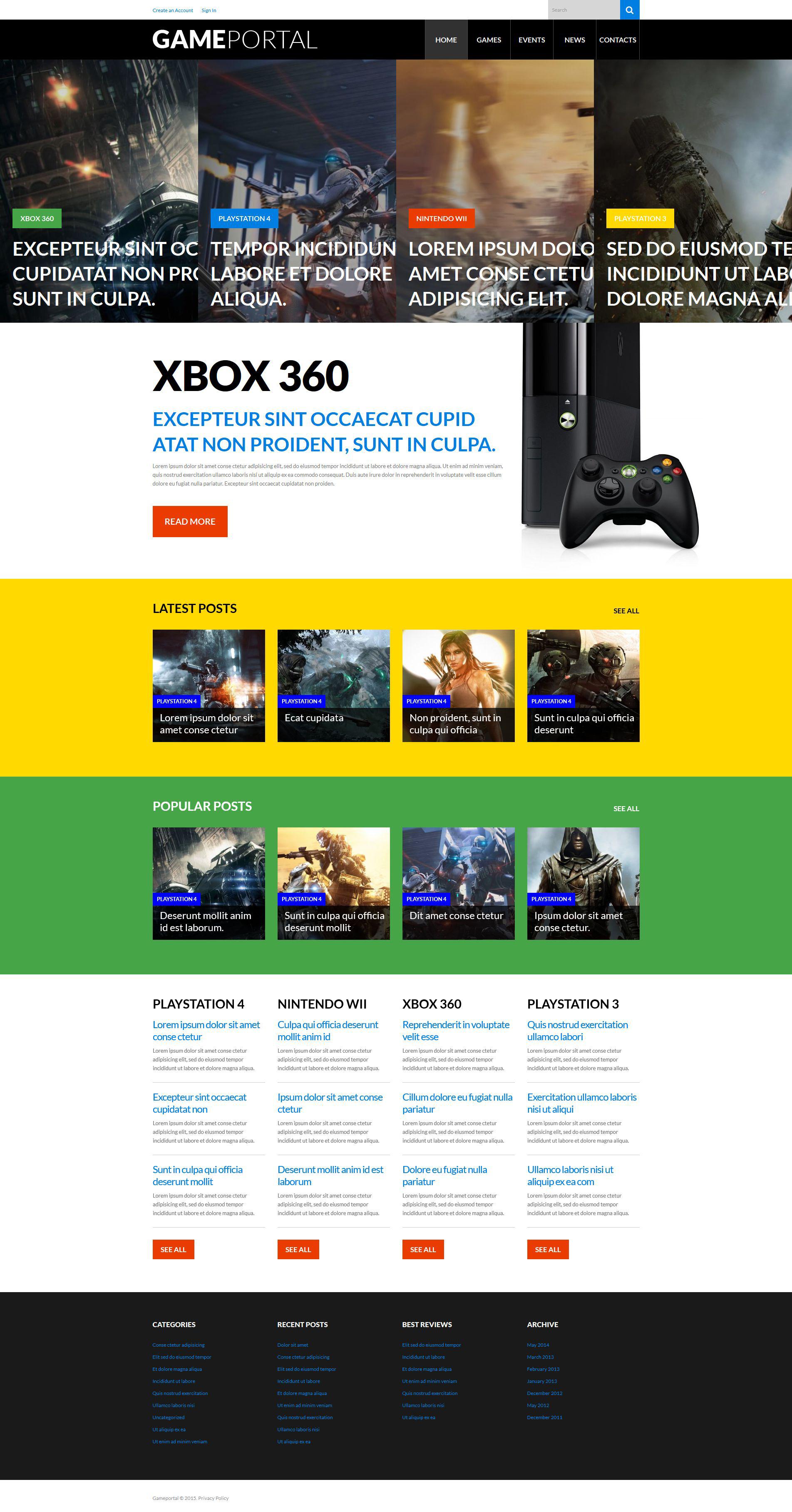 """Video Gaming Entertainment"" 响应式WordPress模板 #52656"