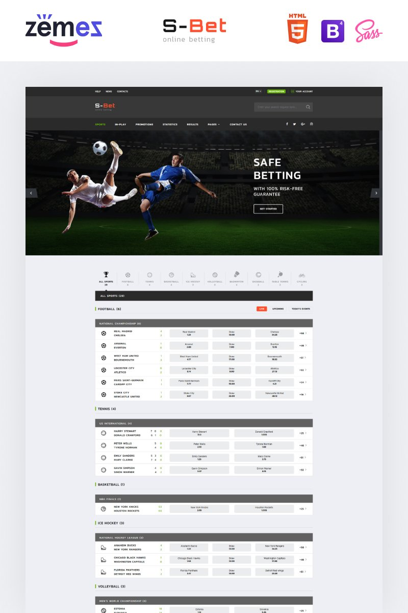 "Website Vorlage namens ""S-Bet - Online Betting Multipage HTML"" #52669"