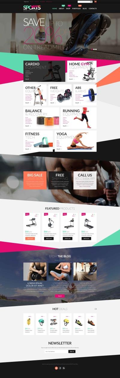 Адаптивный WooCommerce шаблон №52647 на тему фитнес