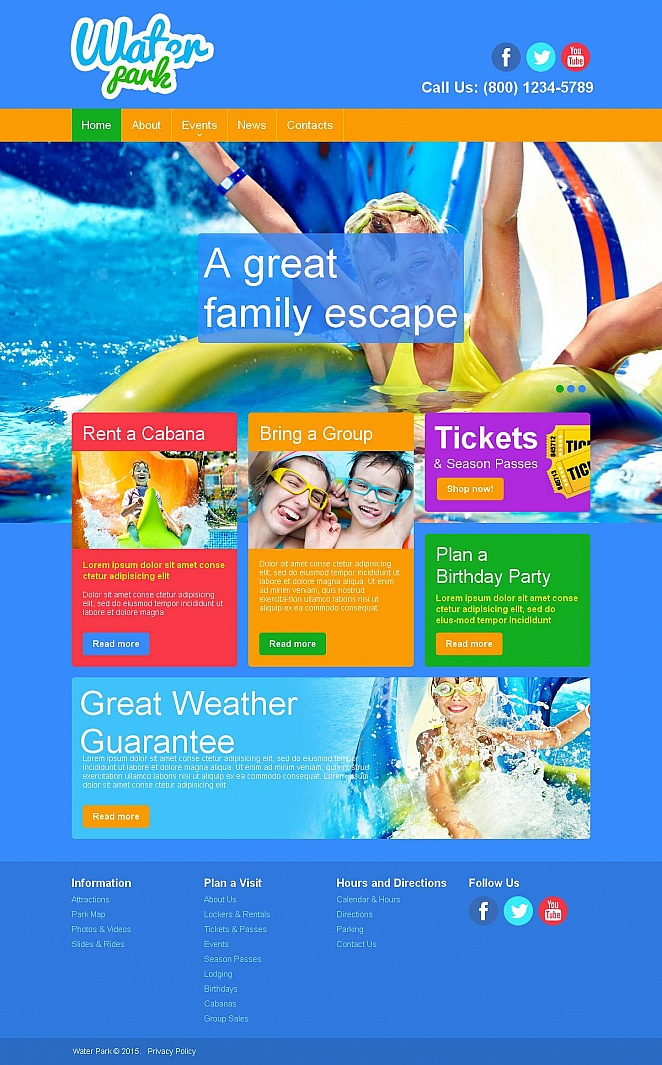 Water Park Website Template with Colorful Design - image