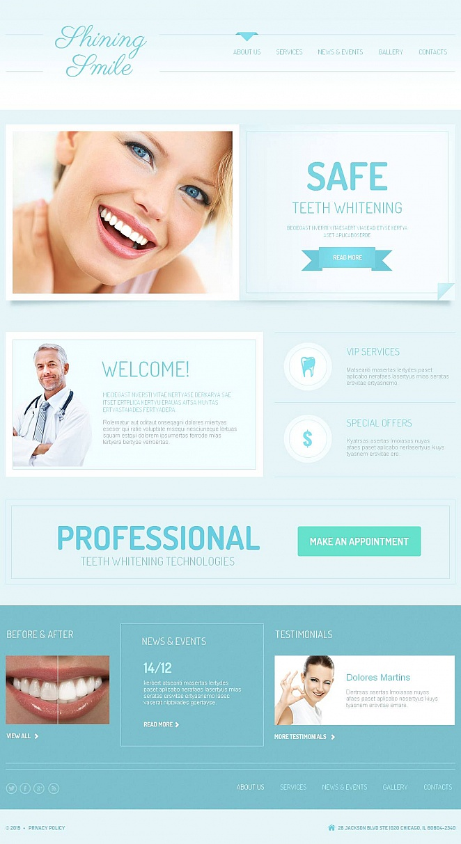 Dentist Website Template with Rich Functionality - image