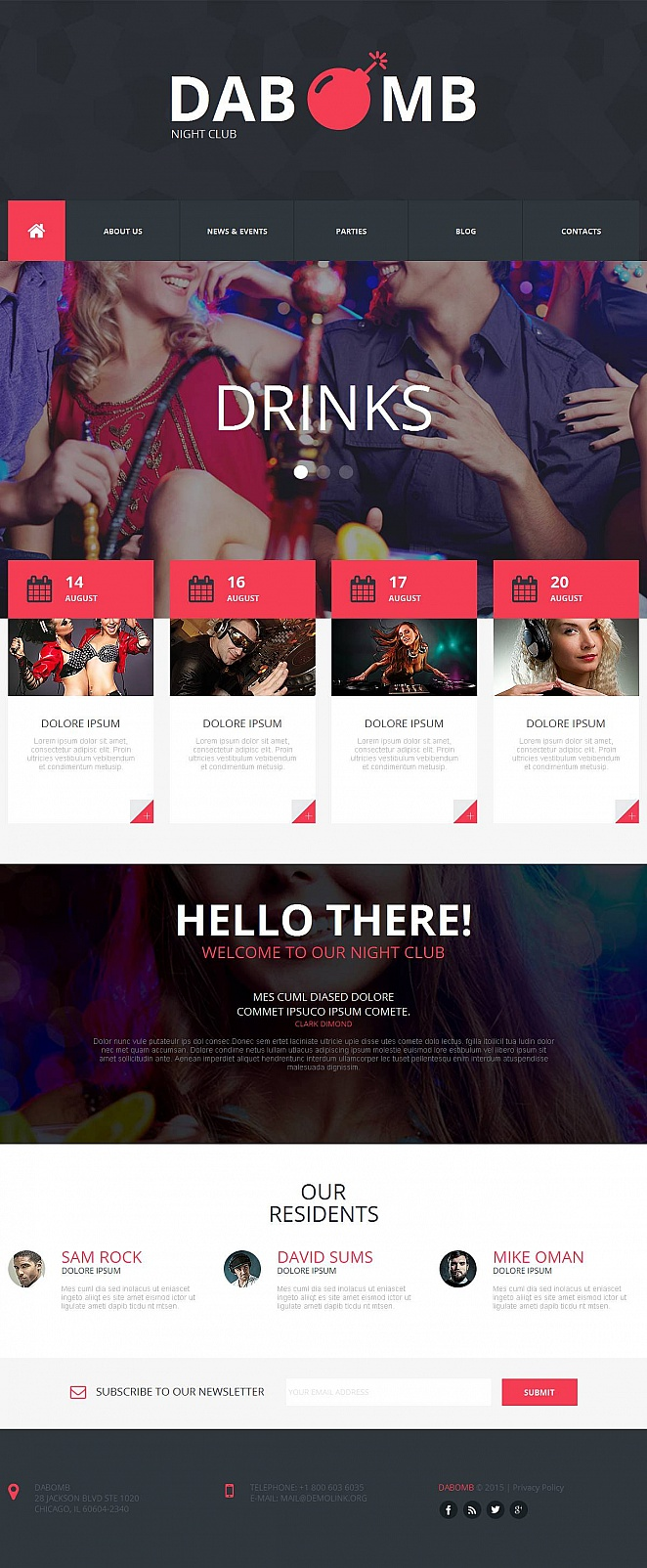 Metro Style Web Template for Night Club - image
