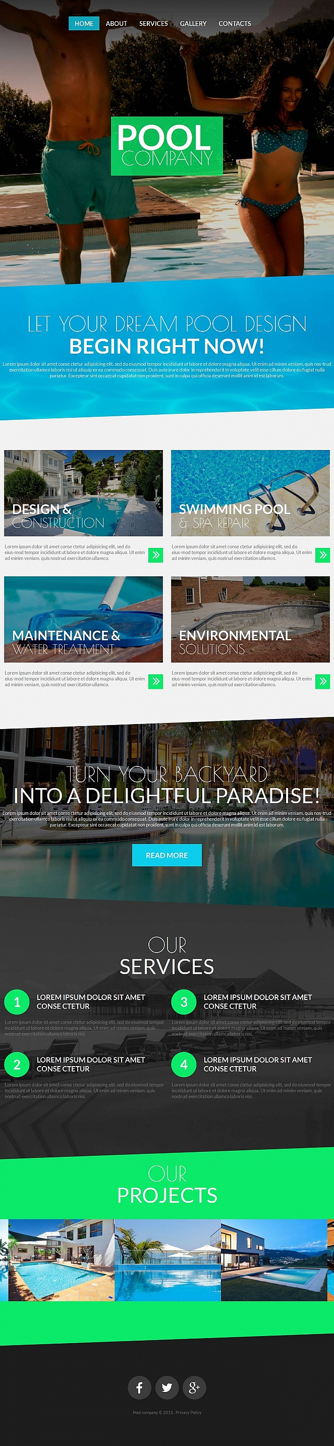 Pool Design Website Template with Large Images - image