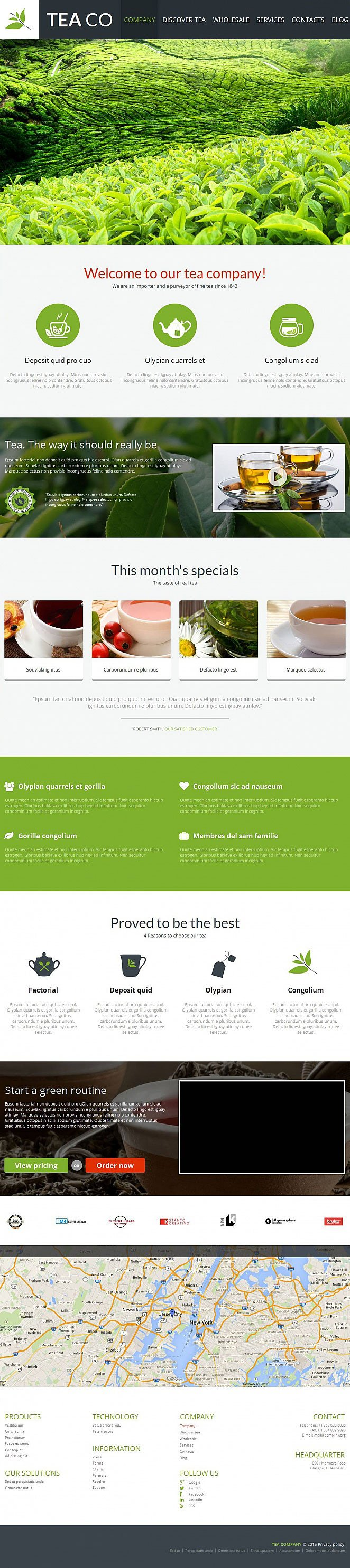 Tea Company Website Template with Home Page Slider - image