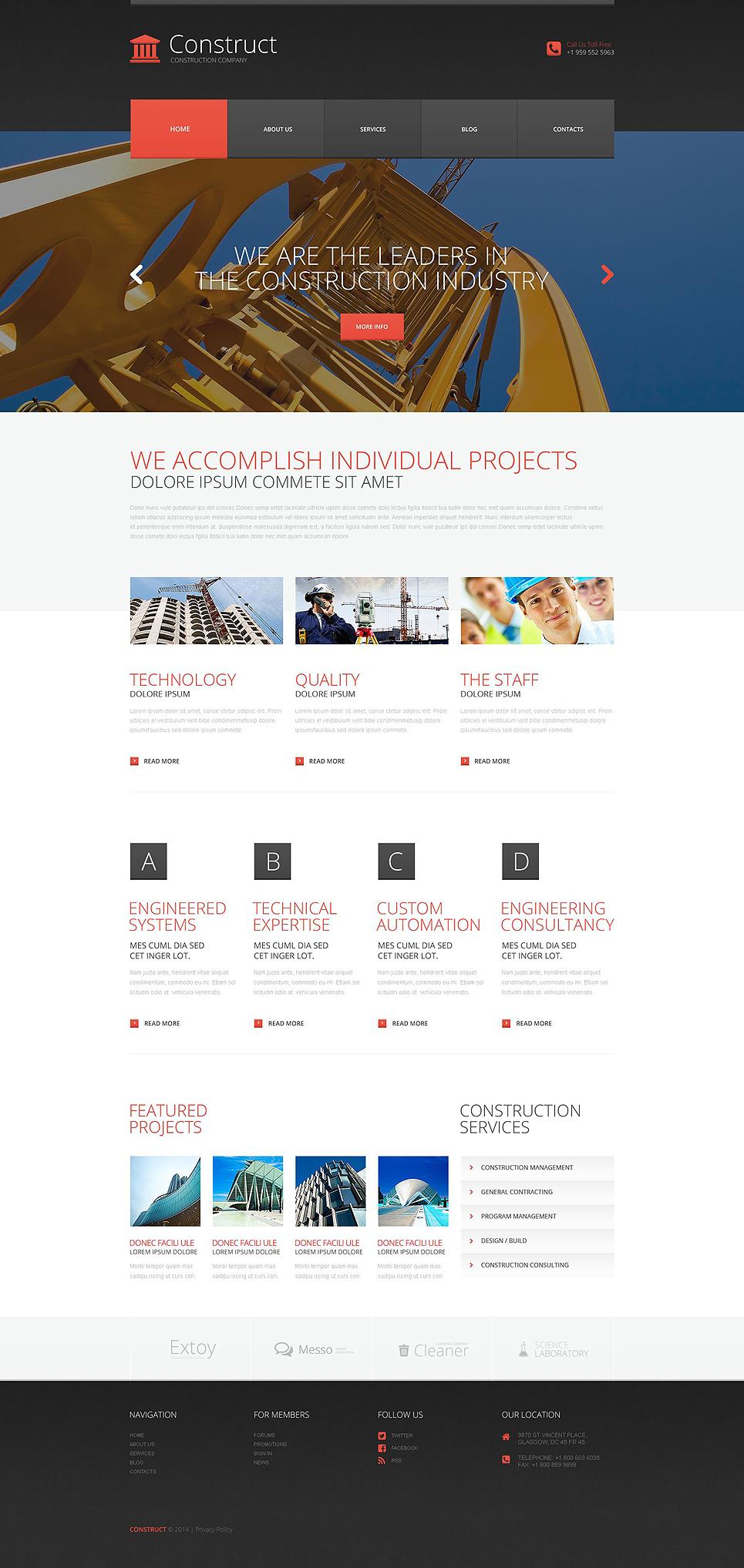 Адаптивный шаблон сайта на тему строительные компании #52706