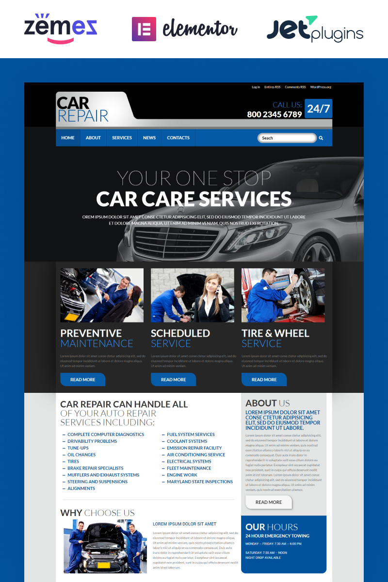 Адаптивный шаблон сайта на тему ремонт авто #52721