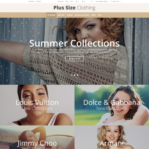 Plus Size Clothing - Magento Template based on Bootstrap