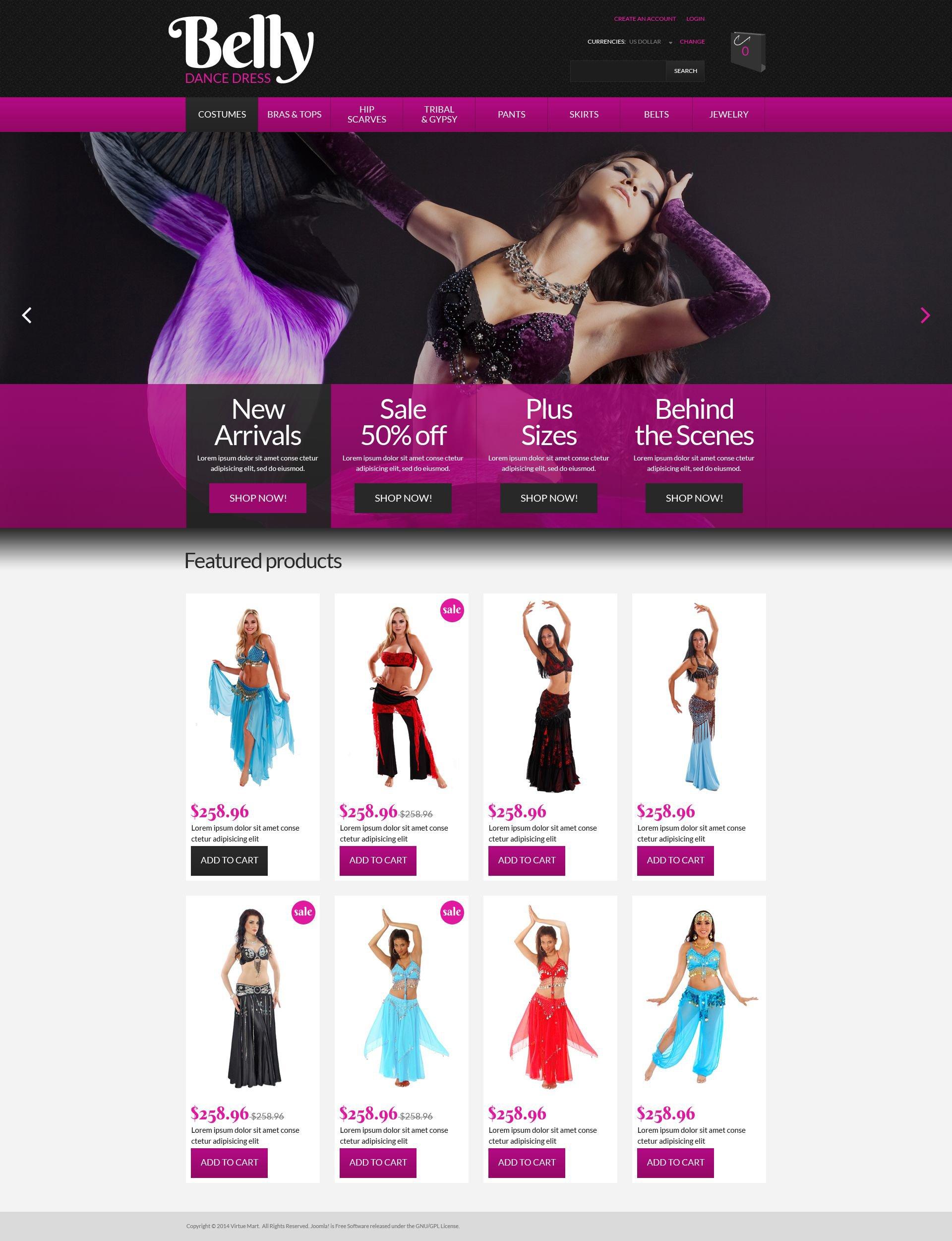 """""""Belly Dance Dress Shop"""" VirtueMart Template №52767"""