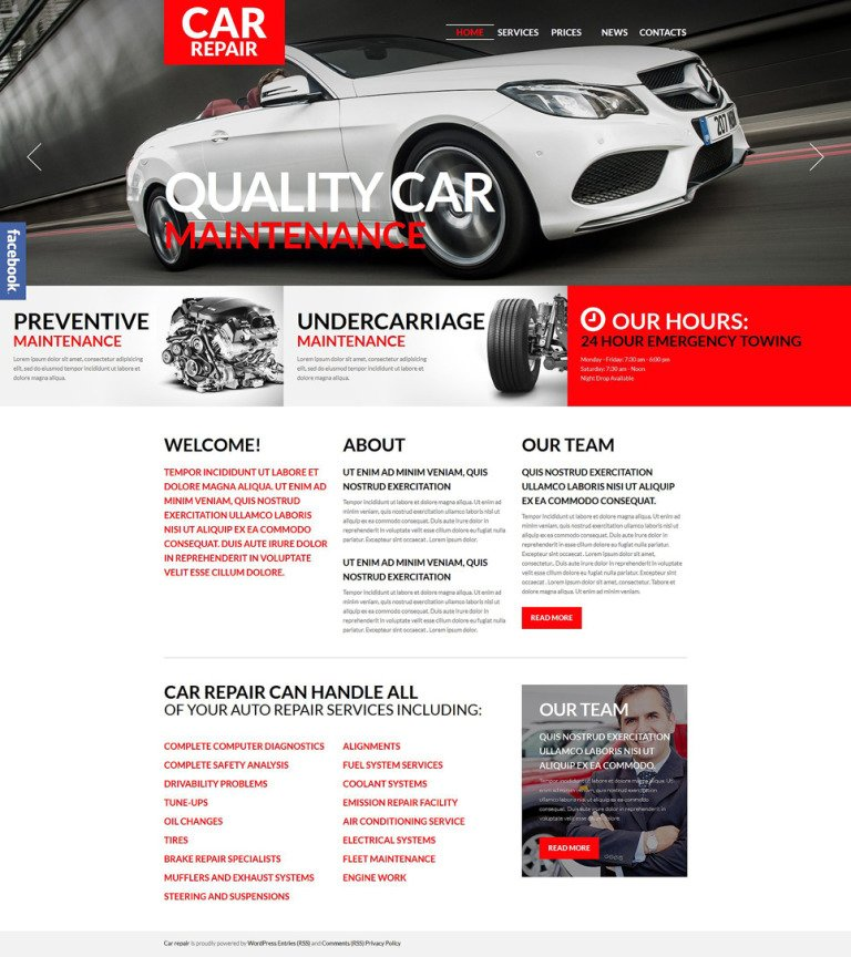 Car Repair WordPress Theme New Screenshots BIG
