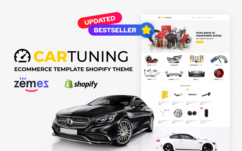 """Car Tuning eCommerce Template"" thème Shopify adaptatif #52725"