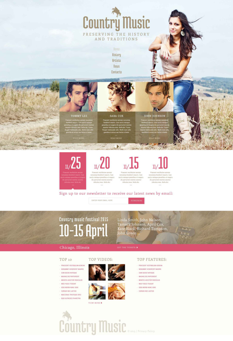 Country Music Fan Club Website Template New Screenshots BIG
