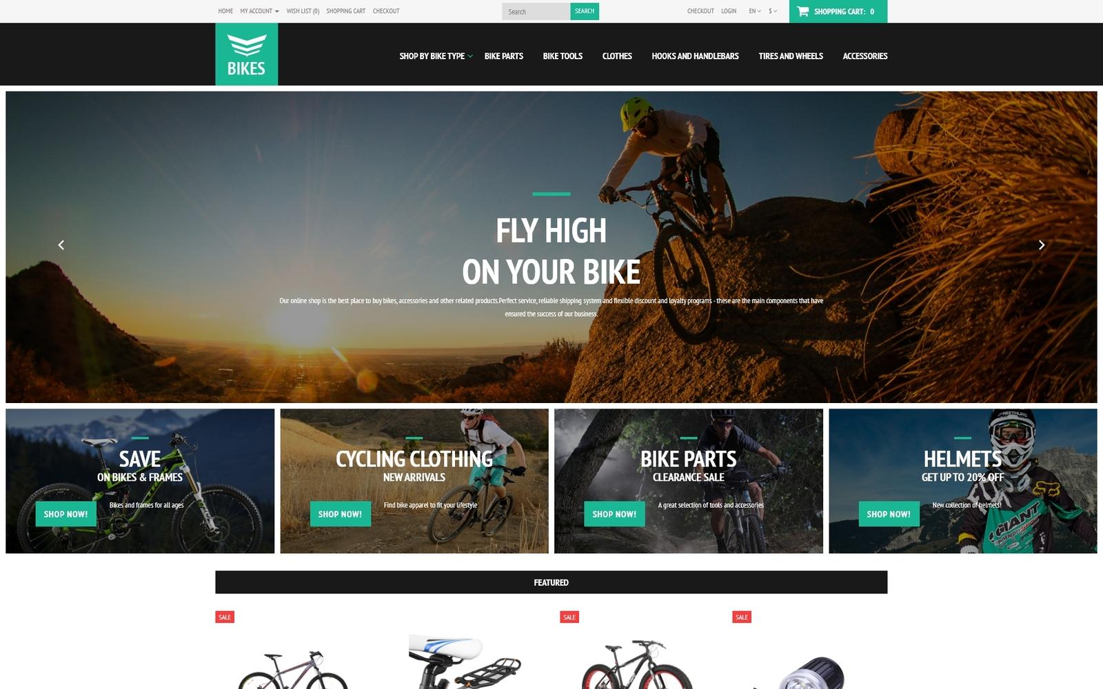"""Cycling Equipment"" - адаптивний OpenCart шаблон №52755"