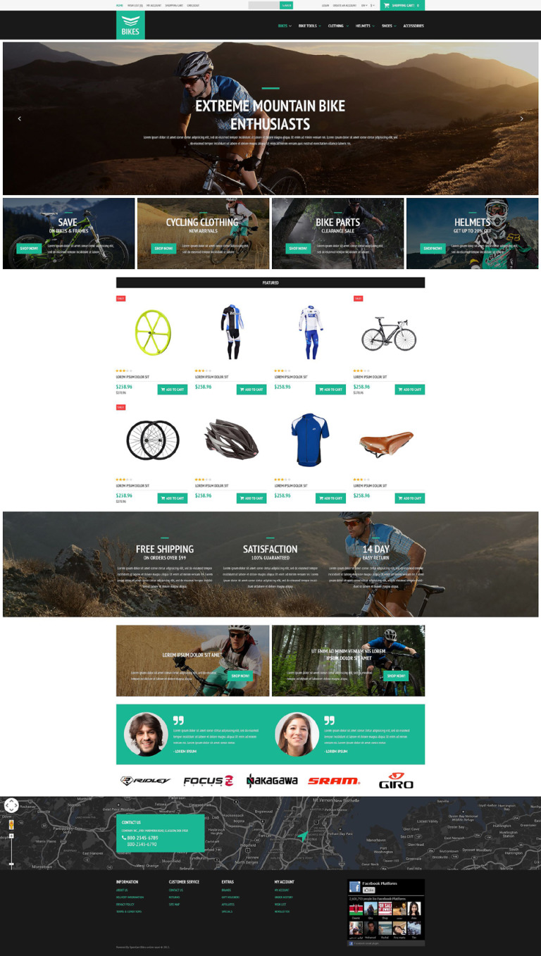Cycling Equipment OpenCart Template New Screenshots BIG