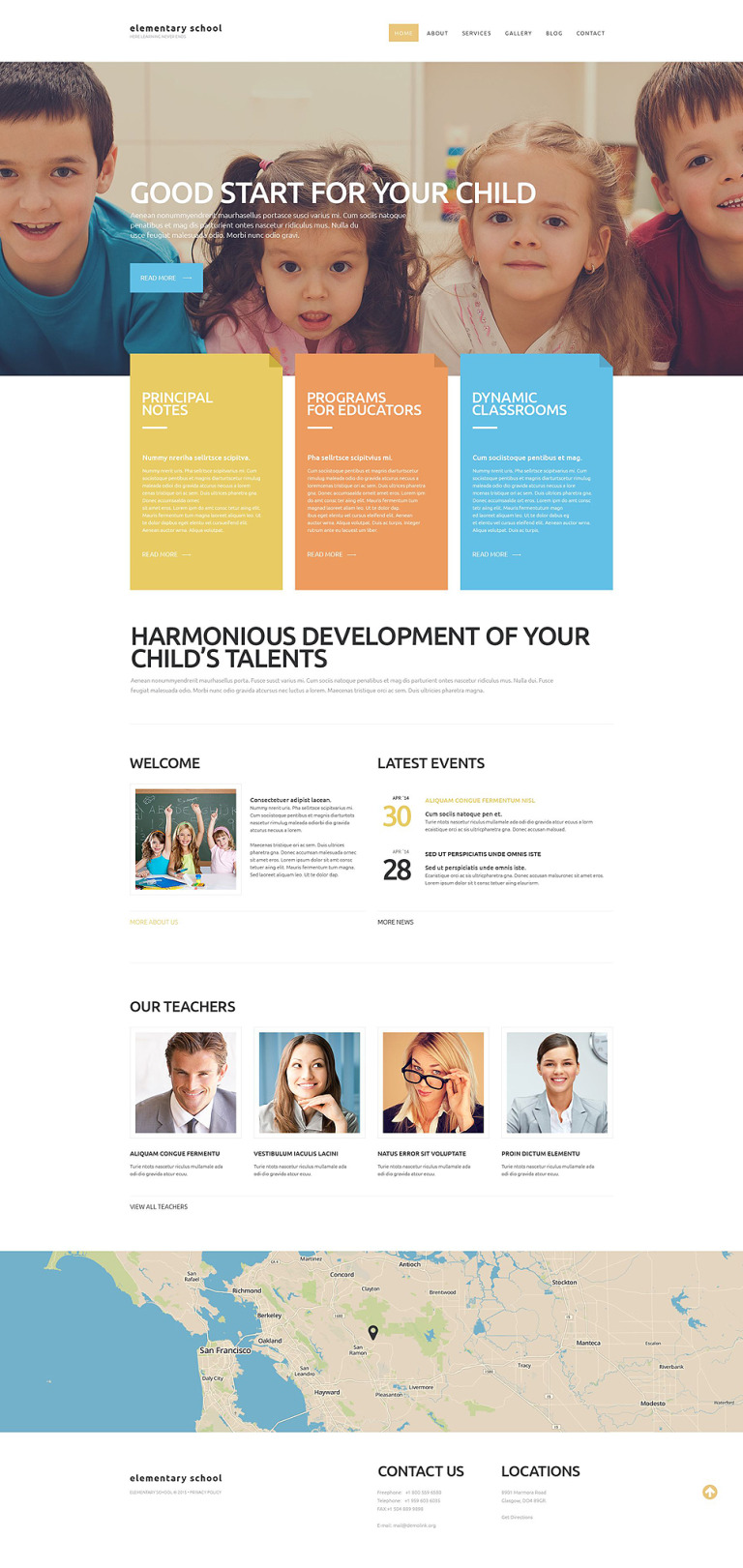 Elementary School Website Template New Screenshots BIG