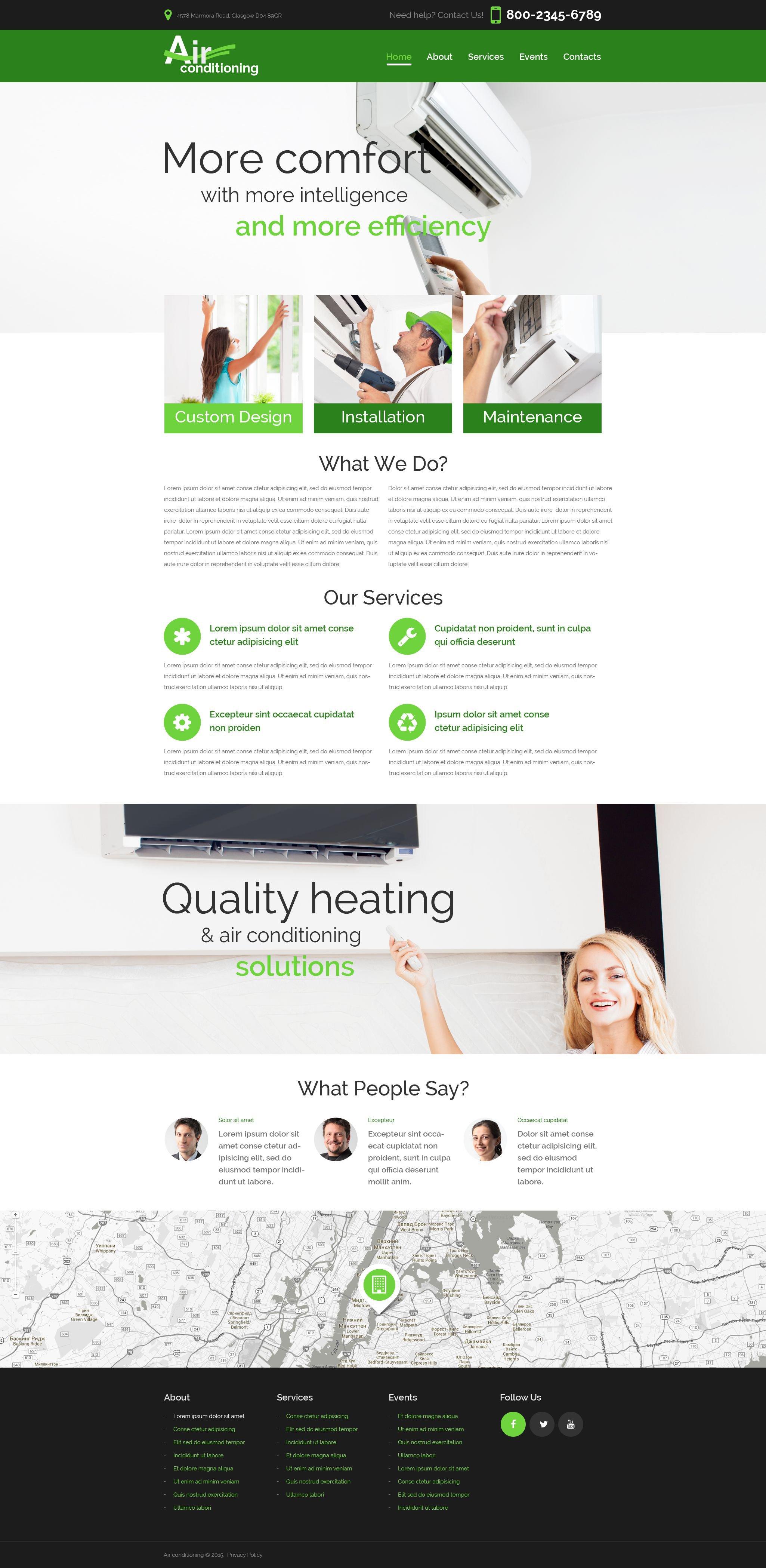 """Heating  Air Conditioning Co"" - адаптивний Шаблон сайту №52746"