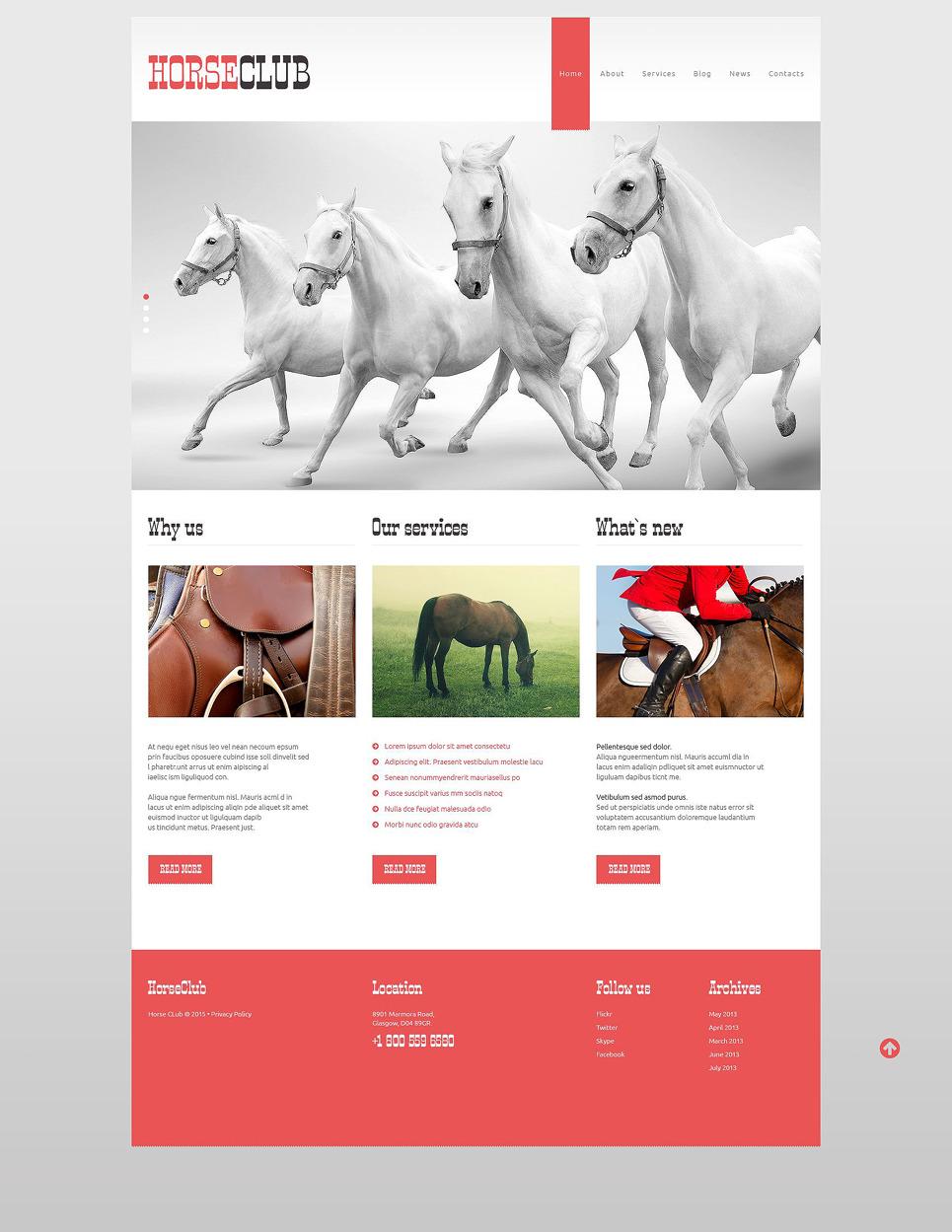Horse Club WordPress Theme New Screenshots BIG