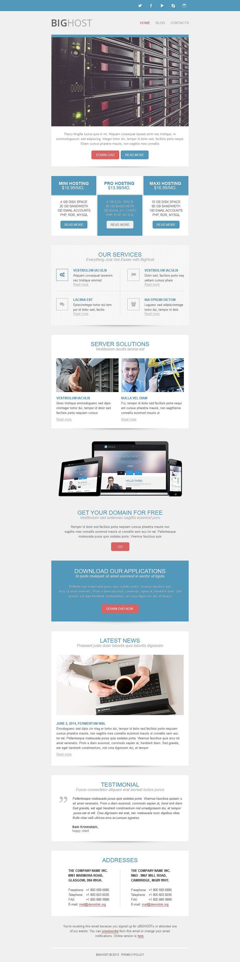 Hosting Responsive Newsletter Template New Screenshots BIG