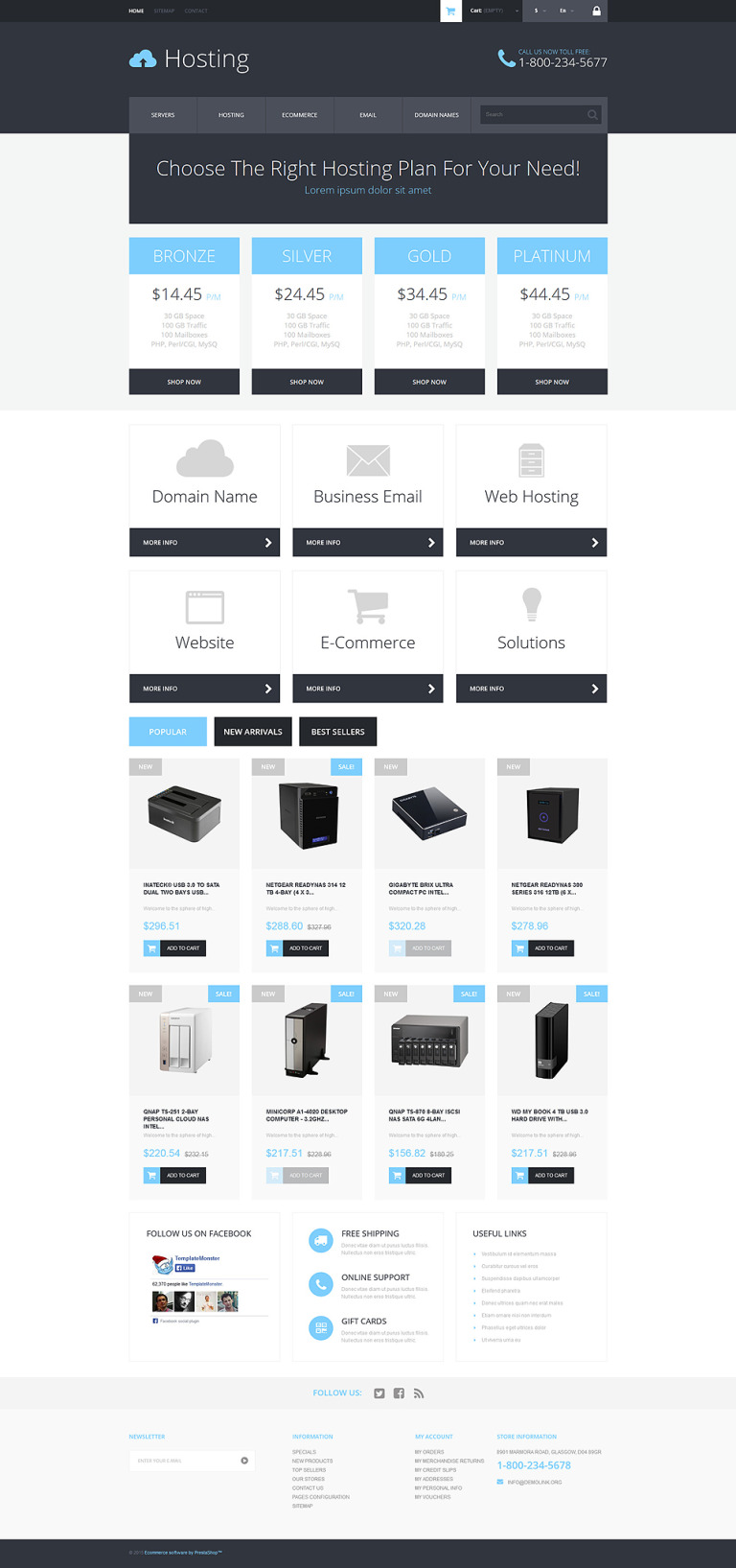Hosting Services Provider PrestaShop Theme New Screenshots BIG