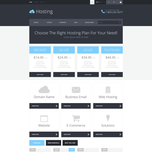 Hosting - PrestaShop Template based on Bootstrap